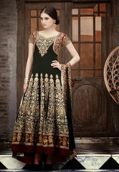 Black,Red Georgette kameez designed with Lace,Multi Resham Stone Work.  INR:-9320 -With Exciting 25% Discount !