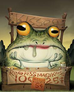 BILL MAYER frog kiss #illustration