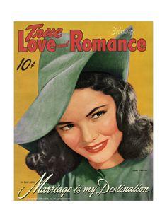 True Love & Romance Vintage Magazine - February 1942 - Gene Tierney - Marriage Is My Destination Giclee Print at Art.com