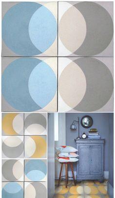 Handmade cement tiles from UK-based Lindsey Lang Design. via Poppytalk