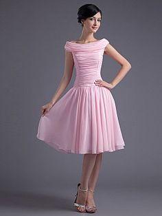 Bateau Neckline Knee Length A Line Party Dress with Pleating - USD $89.69 *black