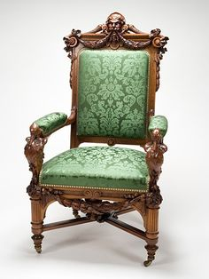 Herter Brothers furniture makers and interior designers during America's Gilded Age, in NYC. ~ Pictured: A walnut - open armchair, c.1872-73, with the original horsehair stuffing. The green damask covering, is not original. ~ {cwlyons} ~ (Image/colection: Chrysler Museum of Art)