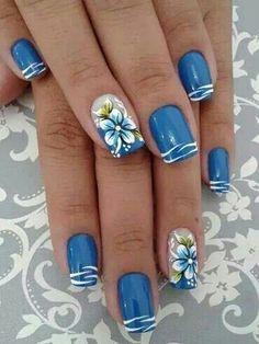 26 New Nail Designs for Spring - Nail Art Designs 2020 Pretty Nail Art, Cute Nail Art, Nail Art Blue, Blue And White Nails, New Nail Art Design, Nail Art Designs, Nails Design, Flower Nail Designs, Nail Art Ideas