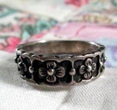 RING  BAND  FLORAL  Ornate  925  Sterling Silver   by MOONCHILD111, $16.95 https://www.etsy.com/shop/MOONCHILD111