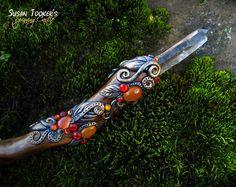 Magic Crystal Wand Smokey Smoky Quartz Agate by SpinningCastle, $285.00