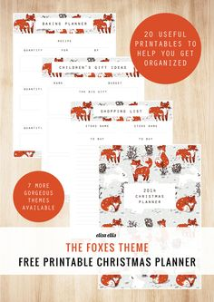 Free Printable 2014 Christmas Planners - The Foxes Theme - by Eliza Ellis