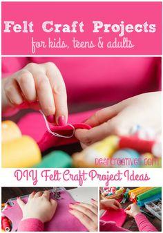 DIY Felt Craft Projects So many fun, easy Felt Crafts to make. Find felt crafts for kids, felt crafts for teens and felt crafts for adults. Plus tutorials! Easy Felt Crafts, Felt Diy, Crafts To Make, Arts And Crafts Projects, Crafts For Teens, Diy For Kids, Summer Diy, Summer Crafts, Preschool Crafts