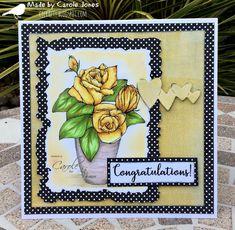 Craftilicious Creations: Artsystamper: Congratulations Polka Dot Paper, Paint Background, Distress Oxides, Copic Markers, Vintage Roses, Happy Monday, Badge, Congratulations, Artsy