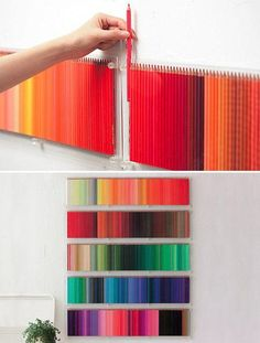 Colored Pencil Wall Display (using 500 colored pencils)