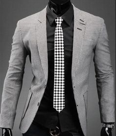 Men's Houndstooth Pattern Blazer