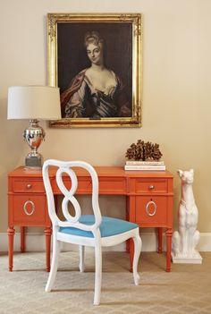 Orange desk. Design by Marmalade Interiors via Live.Like.You