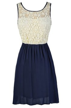 Flower Chain Crochet Lace Dress in Navy I love this! Maybe for a picture day at school, May crowing or graduation! ;)