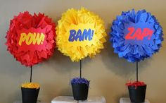 This Pow Bam Zap SET OF THREE Superhero explosion centerpiece kits is just one of the custom, handmade pieces you'll find in our party décor shops. Avengers Birthday, Superhero Birthday Party, 4th Birthday Parties, Birthday Party Decorations, 5th Birthday, Birthday Celebration, Super Hero Birthday, Incredibles Birthday Party, Wonder Woman Birthday