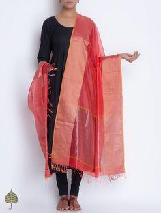 Coral Red Maheshwari Silk Cotton Dupatta with Woven Zari Border by Jaypore on Jaypore.com