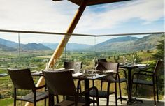 """The @Ottawa Citizen Laura Robin shares fine wines and views to swoon over in BC's Okanagan Valley listing Miradoro one of the top winery patios, perfectly positioned for inhaling the scenery while you swirl your glass. """"The newest of the batch, this year-old restaurant near Oliver, B.C., is a joint venture between the 20-year-old, family-run winery and a top Vancouver restaurateur. It features 65 seats inside, with spectacular views, and 65 more outside, with even better ones."""""""