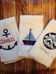 Set of 3 Personalized Burp Cloths - Diaper Cloths - Baby Boy - Monogrammed - Gift Set - Nautical -Sail Boar