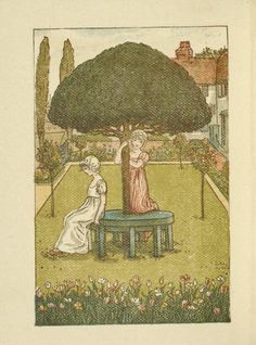 Two girls in garden - Kate Greenaway's Almanack for 1888