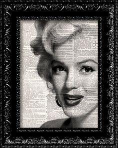 BOGO - Marilyn Monroe - Sex Symbol Movie Star Vintage Dictionary Print Vintage Book Print Antique Book Page Art Upcycled Vintage Book Art