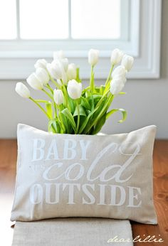 Image of Baby It's Cold 12x16 Pillow Cover in White
