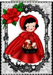 Little Red Riding Hood In Black Lace Frame With Red Roses A4