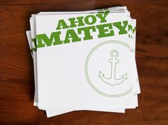 Modern Green + White Nautical Moving Announcements by Lindsay from McMillian and Furlow