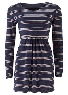 Navy Stripe Tunic. NOW $28 CAD (15.20 pounds), was $70 (38 pounds). Would look great paired with black leggings and boots. Organic fairtrade certified cotton.