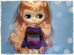 BLYTHE Sweater, Jumper, Dal, Pure Neemo, Licca, Basaak, Icy Doll, Jecci Five - Knitted Multicolor Violet, Blue and Brown Sweater #87 by MPdollWorld on Etsy