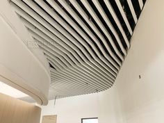 aluminum U-baffle ceiling Baffle Ceiling, Metal Ceiling, Ceiling Height, Fire Sprinkler, Construction Drawings, Ceiling Decor, Building Materials, Colorful Pictures, Aluminium Alloy