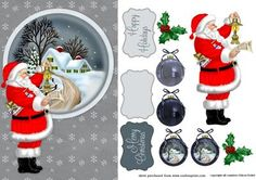 Santa on Craftsuprint designed by Eileen Deliot - Santa in front of a winter landscape with a house, snow and trees - Now available for download!