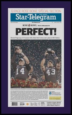 Texas Christian Horned Frogs Wood Mounted Poster Print - 2011 Rose Bowl - Perfect