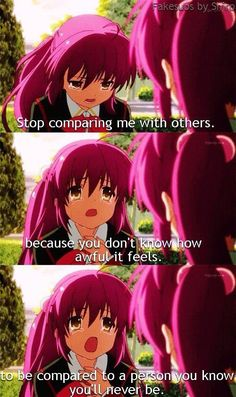Stop comparing me...