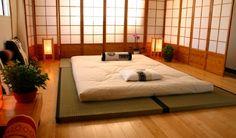 Japanese bedroom. Shikibuton bed. Tatami mats.