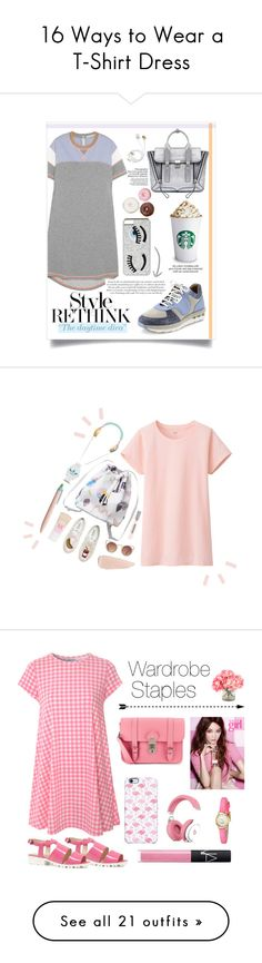 """16 Ways to Wear a T-Shirt Dress"" by polyvore-editorial ❤ liked on Polyvore featuring tshirtdress, waystowear, 3.1 Phillip Lim, Richard Nicoll, Salvatore Ferragamo, Chiara Ferragni, Erdem, Uniqlo, Monki and Quay"