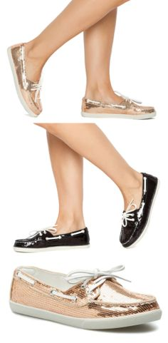 Sequin Boat Shoes / Loafers in Black or Rose Gold