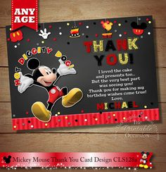THANK YOU CARD Mickey Mouse Chalkboard Thank You Card, Thank You Card, Chalkboard Thank You Card, Mickey Mouse Printable Thank You Card Thank You Template, Printable Thank You Cards, Cl Design, Birthday Wishes For Myself, Mickey Mouse Birthday, Color Card, Party Printables, Birthday Cards, 2nd Birthday