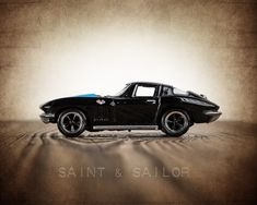 Vintage Muscle Car Black 65 Corvette