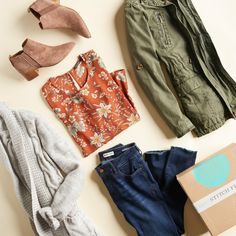 I love the olive jacket in this pic from Stitch Fix. Stitch Fit, Stitch Fix Fall, Looks Style, Style Me, Pretty Outfits, Cute Outfits, Pretty Clothes, Casual Outfits, Olive Jacket