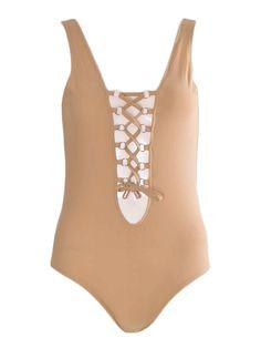 Women Plunge Lace up Tie Neckline Open Back Stretch Bodysuit Tan 6-14