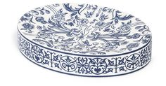 A classic addition to the vanity, this soap dish is crafted of fine porcelain with a beautifully detailed design in blue.