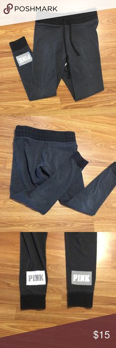 PINK Victoria Secret Sweats VICTORIA SECRET Yoga Sweats M These yoga pants do have visual wear to them. Make sure you take a close look in the pictures, if you have questions feel free to ask.  There very comfortable, your going to love them!   NO TRADES PINK Victoria's Secret Pants