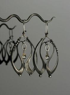 Clear Glass Mixed Metals Earrings by OlivOva on Etsy, $175.00