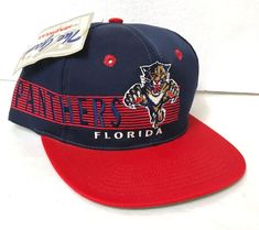 efc0108ee9a Details about NWT Vtg FLORIDA PANTHERS SNAPBACK HAT Navy Blue Red Striped  90s The Game Men NEW