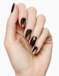 Matte Black and Gold glitter Nail Art. #sparkle