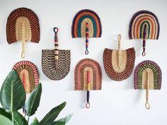 Beautiful handwoven and decorative Bolga fan, hand fan, African fan, Ghanaian fan -handmade and ethically sourced Grand Designs, Basket Weaving, Hand Weaving, African Interior Design, African Home Decor, Felt Garland, Wall Fans, Unique Wall Decor, Shop Interiors