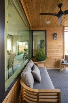 Looking for Outdoor Space and Porch ideas? Browse Outdoor Space and Porch images for decor, layout, furniture, and storage inspiration from HGTV. Cedar Paneling, Cedar Walls, Outdoor Spaces, Outdoor Living, Porch Wall, Patio Wall, Front Porch, Smart Home Design, Cedar Homes
