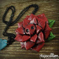 Red Skull Rose Necklace via Etsy.