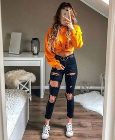 young girl wearing blue ripped jeans, yellow sweatshirt and white . - young girl wearing blue ripped jeans, yellow sweatshirt and white sneakers – - Teen Fashion Outfits, Outfits For Teens, Fall Outfits, Fashion Ideas, Trendy Clothes For Teens, Clothes For Girls, Teen School Outfits, White Girl Outfits, Spring Outfits For Teen Girls
