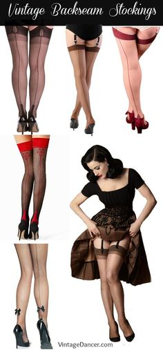 Shop vintage back seam stockings, nylons, tights, thigh highs in black, nude, or fishnet with cuban heels. Many are fully fashioned at VintageDancer.com