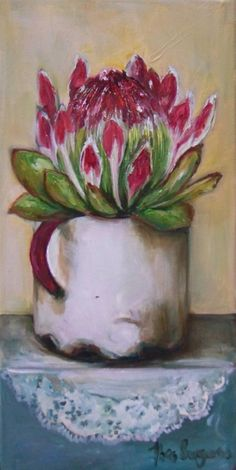 Resultado de imagen para abstract oil painting of proteas Flor Protea, Protea Art, Protea Flower, Oil Painting Abstract, Fabric Painting, Watercolor Paintings, Acrylic Flowers, Art Tutorials, Painting Inspiration
