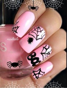 Pink and Black Halloween Nail Design.